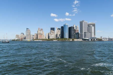 A picture of the Manhattan skyline taken from Staten Island ferry  Stock Photo
