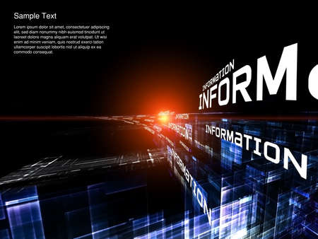 Interplay of words and forms in three dimensional space on the subject of Internet, modern and future  technologies, communications and computing Stock Photo - 12782519