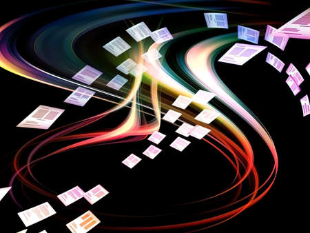 Dynamic interplay of motion lines in three dimensional space on the subject of document processing, Internet and communication technologies Stock Photo - 12782514