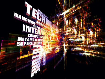 Interplay of words and forms in three dimensional space on the subject of Internet, modern and future  technologies, communications and computing Stock Photo - 12782534
