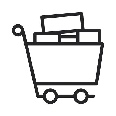Full shopping cart vector icon
