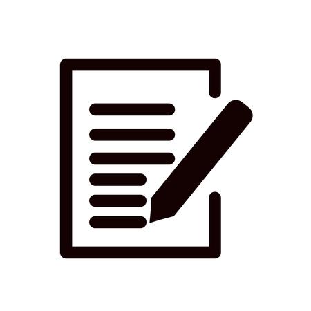 Crayon écrit sur l'icône de vecteur de papier