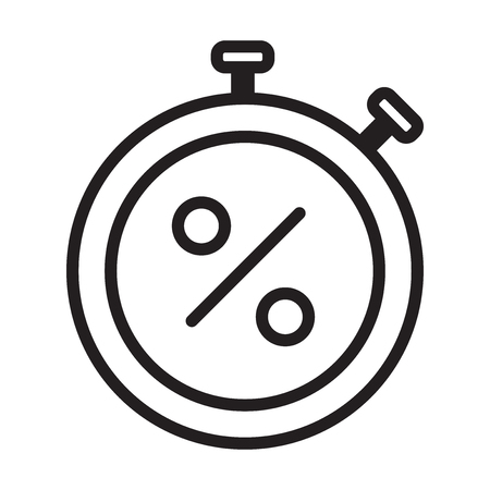 Stopwatch black friday vector icon Illustration