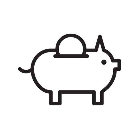Piggy bank black friday vector icon Illustration