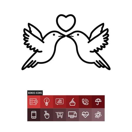 Birds valentines day vector icon
