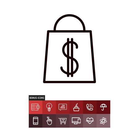 Shopping bag black friday vector icon Illustration