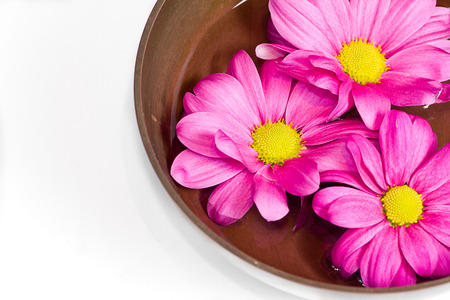gong bowl: Tibetan bowl with massage oil and flowers