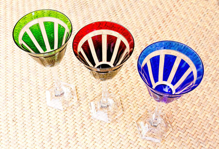 diagonally: Colorful cocktail glasses diagonally. Stock Photo