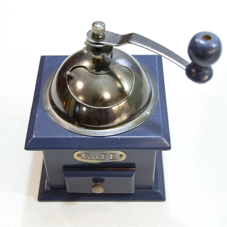 Studio shot of a vintage coffee grinder