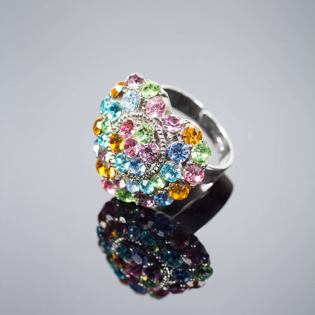 diamond shaped: Multi colored heart shaped diamond ring