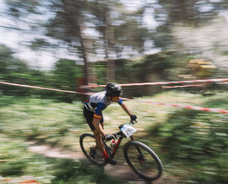 Cadiz, Spain - 24 March 2019: Participants of the third edition of the mountain bike championship. Photographs made with the sweeping technique.