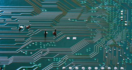 Close up from a computer circuit board. photo