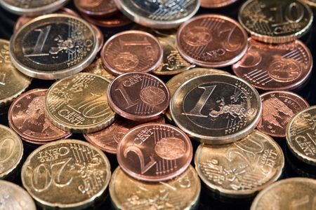 Euro currency: Several euro coins. Stock Photo