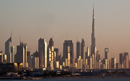 Skyline Dubai, Skyscrapers and Burj al Khalifa.