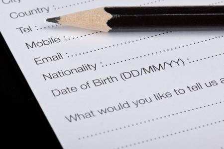 English registration form, reception, hotel, tourism Stock Photo