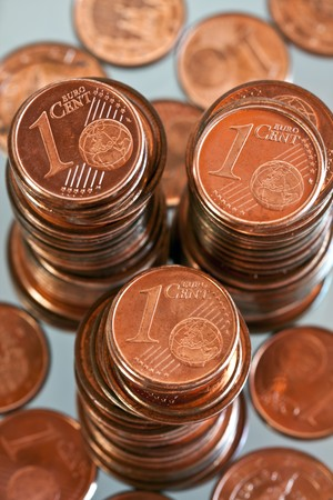 cents: Towers of Euro cents. Stock Photo