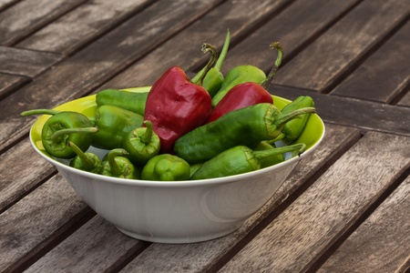 Fresh red and green pepper.
