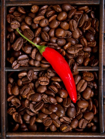 red chili and coffee beans. Stock Photo