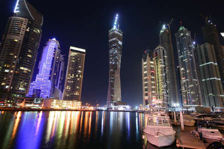 south east: Dubai Marina at night, United Arab Emirates Stock Photo