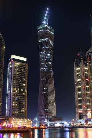 was: Dubai Marina with Infinity Tower at night. Photo was taken on 3rd of august 2011.