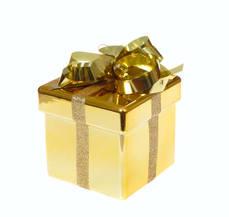 Christmas gift box, photo on the white background Stock Photo - 8033934