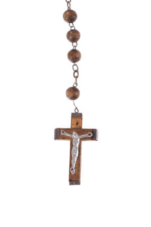 rosary beads, isolated on the white photo