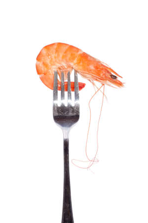 tiger shrimp: Shrimp on fork, photo on the white background