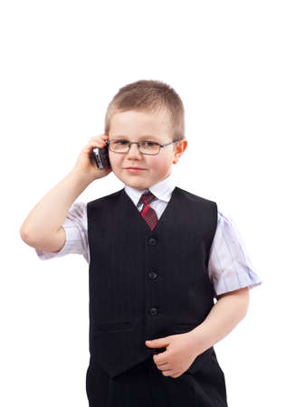 small boy - businessman, isolated on white Stock Photo - 12510116