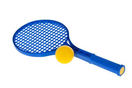 racquetball: pelota y la raqueta aislados en blanco