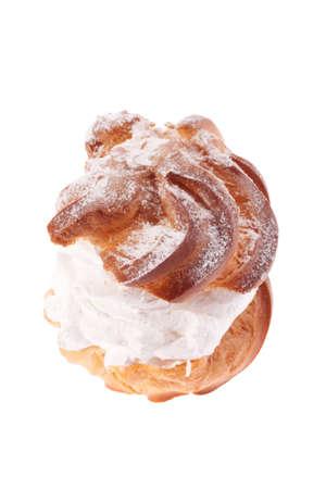 cream puff: Cream puffs pastry with powdered sugar  Stock Photo