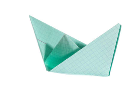 Paper ship, photo on the white background  photo