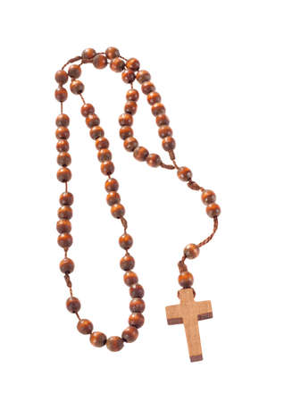 Wooden rosary beads, isolated on the white  Stock Photo