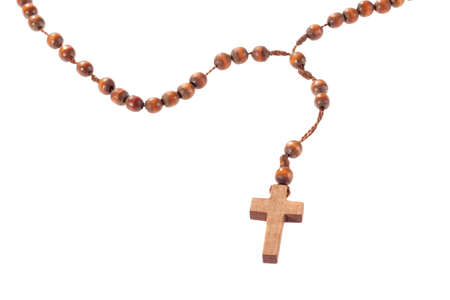 rosary beads: Wooden rosary beads, isolated on the white  Stock Photo