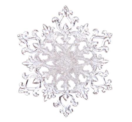 neige qui tombe: Forme de flocon de neige, photo sur le fond blanc Banque d'images