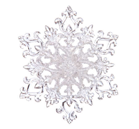 Snowflake shape, photo on the white background photo