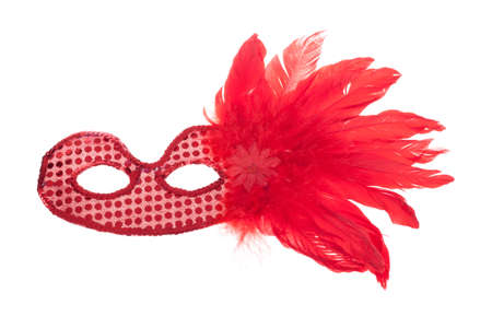 painted face mask: Carnival mask with feathers, isolated on white