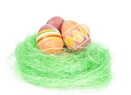 Painted Colorful Easter Eggs on the white Stock Photo