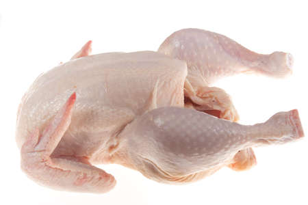 protein crops: raw chicken, photo on the white background