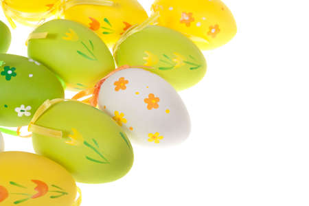 Painted Colorful Easter Eggs on white Stock Photo