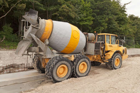 mixer: Heavy Yellow Concrete Truck