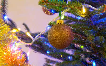 the ball pendant on holiday Christmas tree