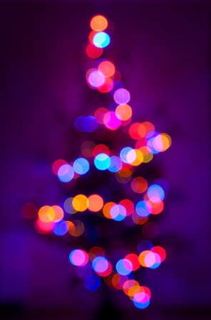 Christmas tree, defocused photo of lamps Stock Photo