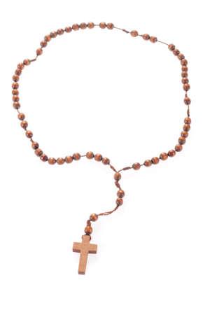 kruzifix: Holz-Rosenkranz, isoliert auf den weißen