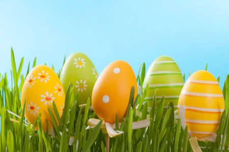 Easter eggs on blue background Stock Photo