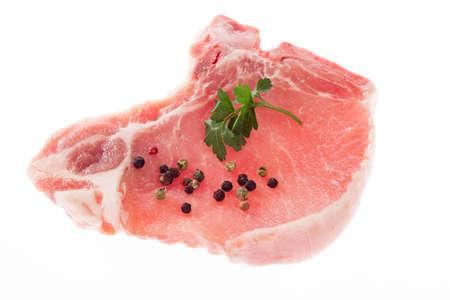 sanguine: Pork chop isolated on white