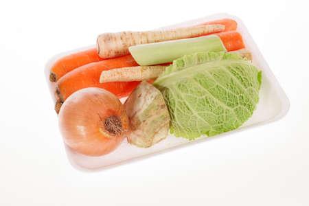 Freshly vegetables in styrofoam packaging tray Stock Photo