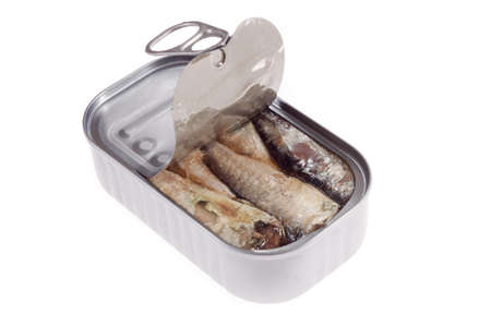 Can of sardines isolated on white