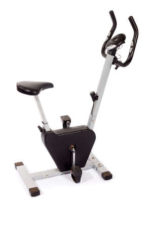 stationary bike: Stationary bike, gym machine on white Stock Photo