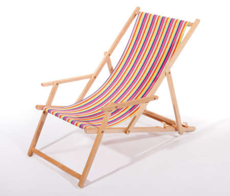 Wooden deck chair on white Stock Photo