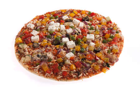 Vegetarian pizza isolated on white Stock Photo